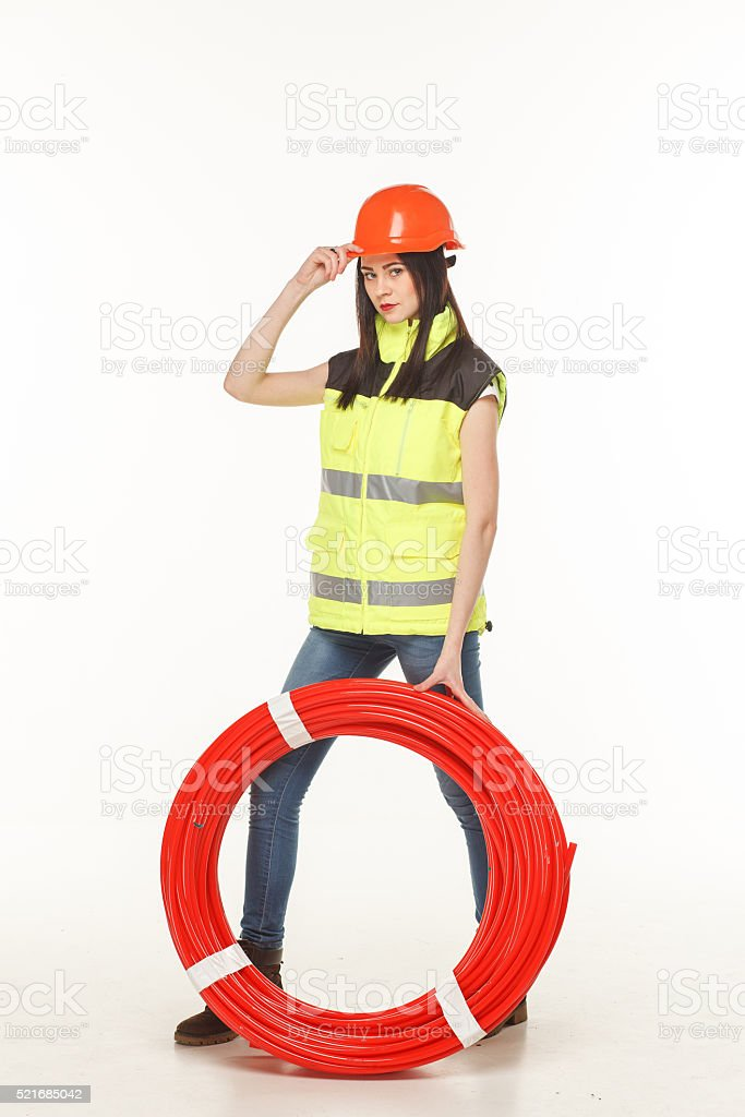 woman uniform coil pipe stock photo