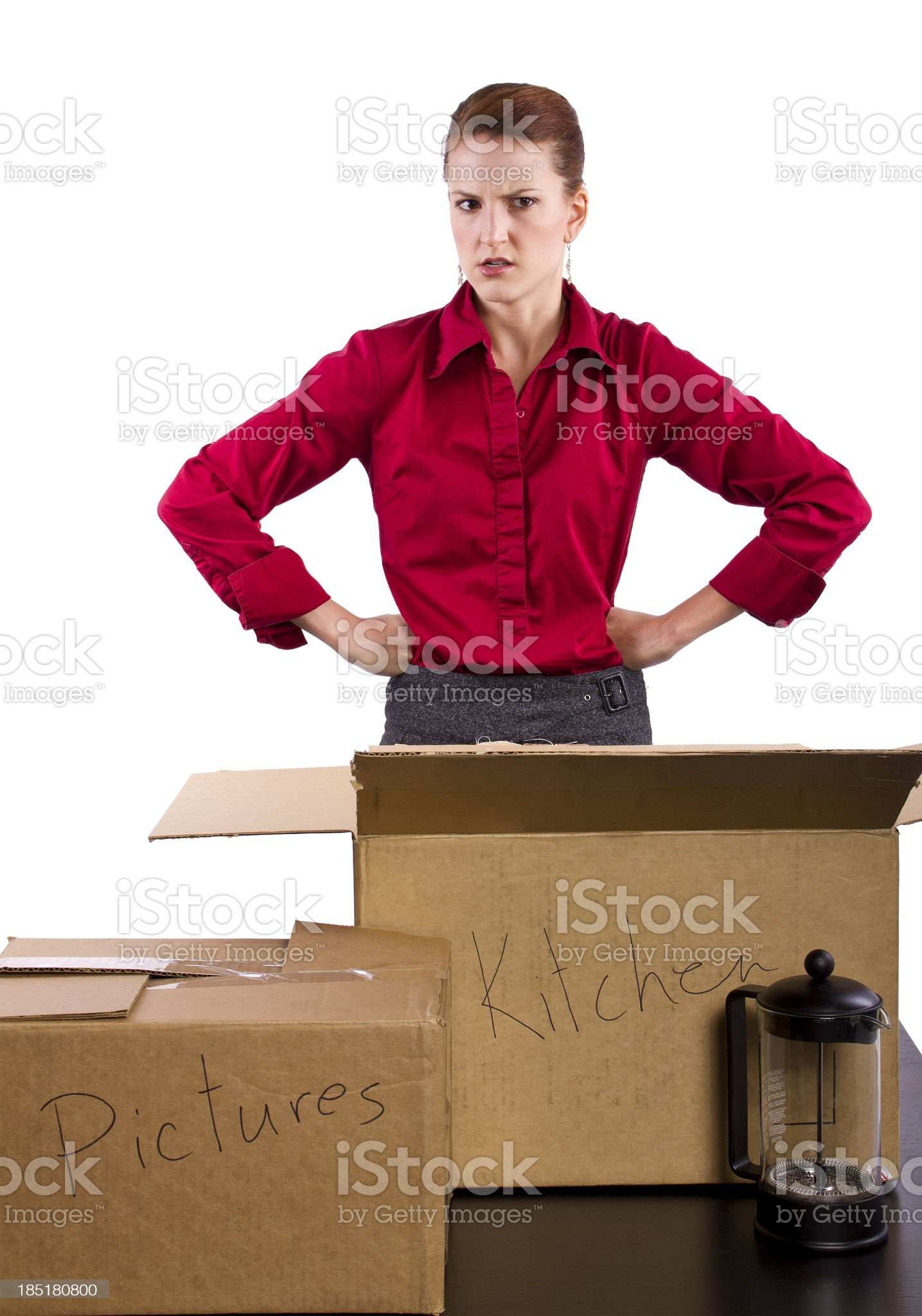 Woman Upset About Lost Items in a Box During Moving royalty-free stock photo
