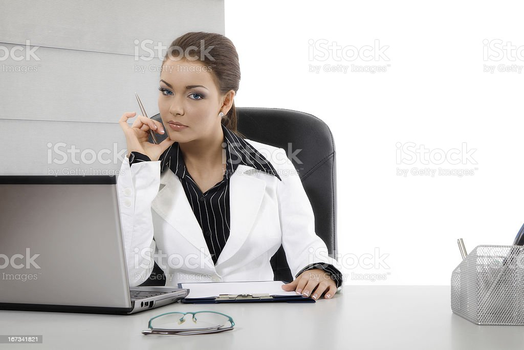 Woman using computer royalty-free stock photo