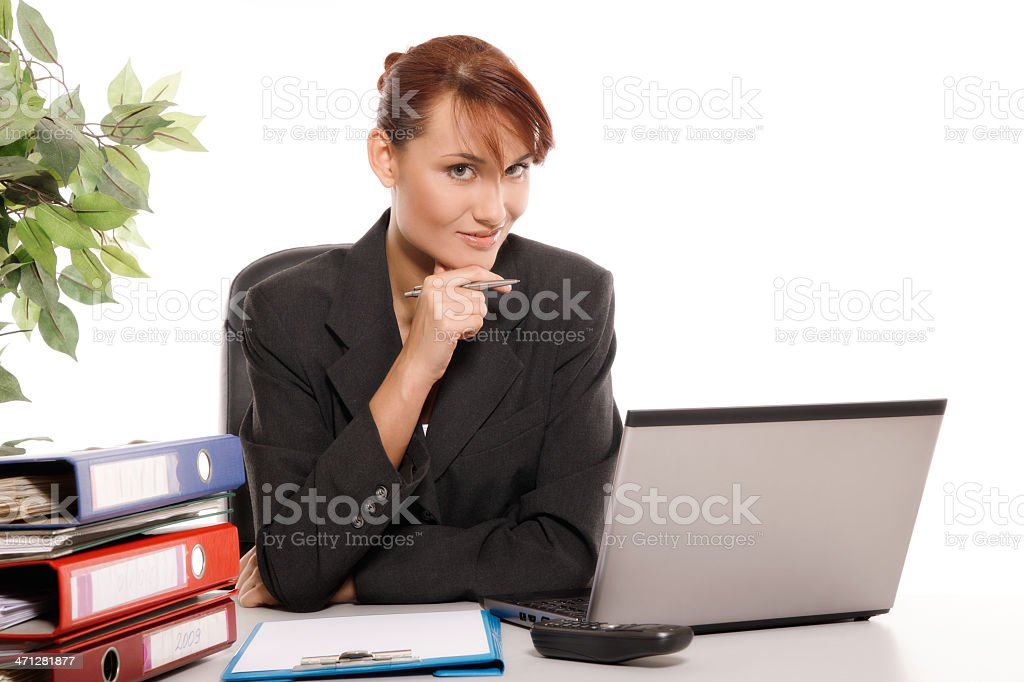 Woman using computer royalty-free stock photo