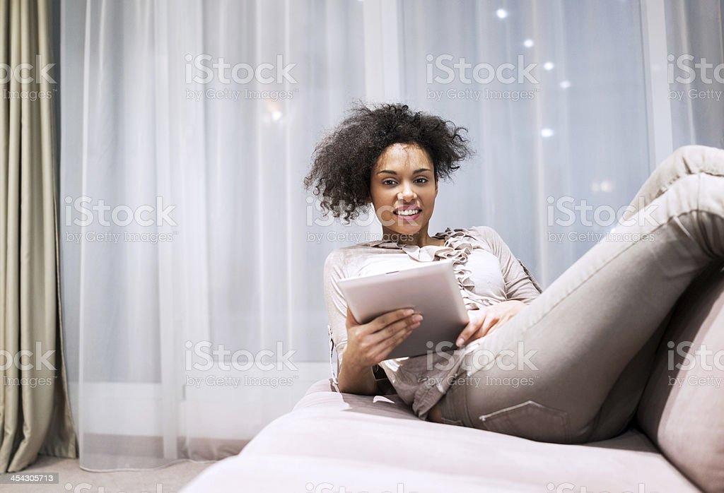Woman using digital tablet. royalty-free stock photo