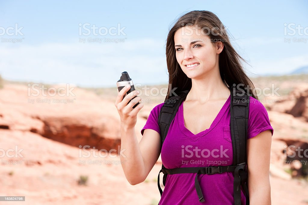 Woman Using GPS stock photo