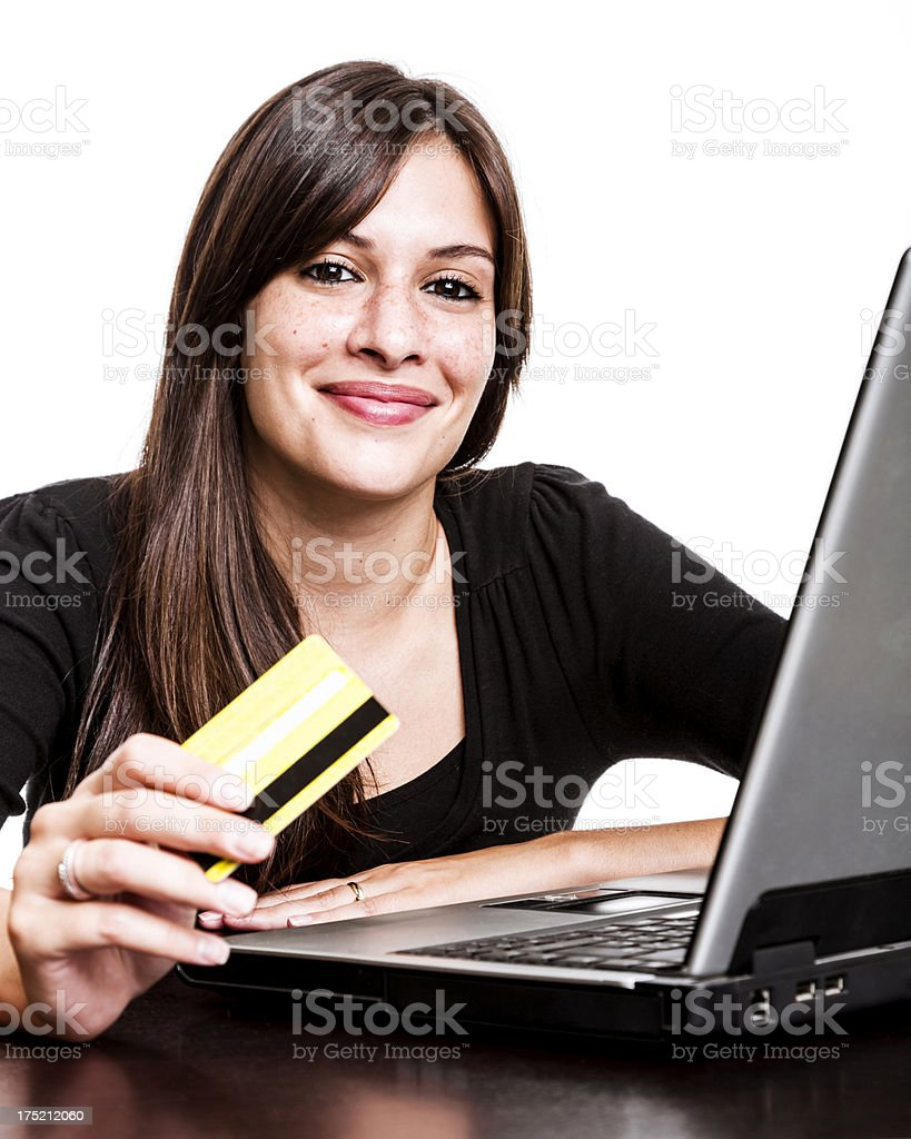 Woman using her credit card royalty-free stock photo