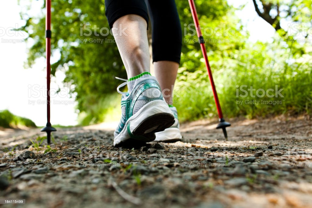 Woman using hiking equipment in a trail trough forest royalty-free stock photo