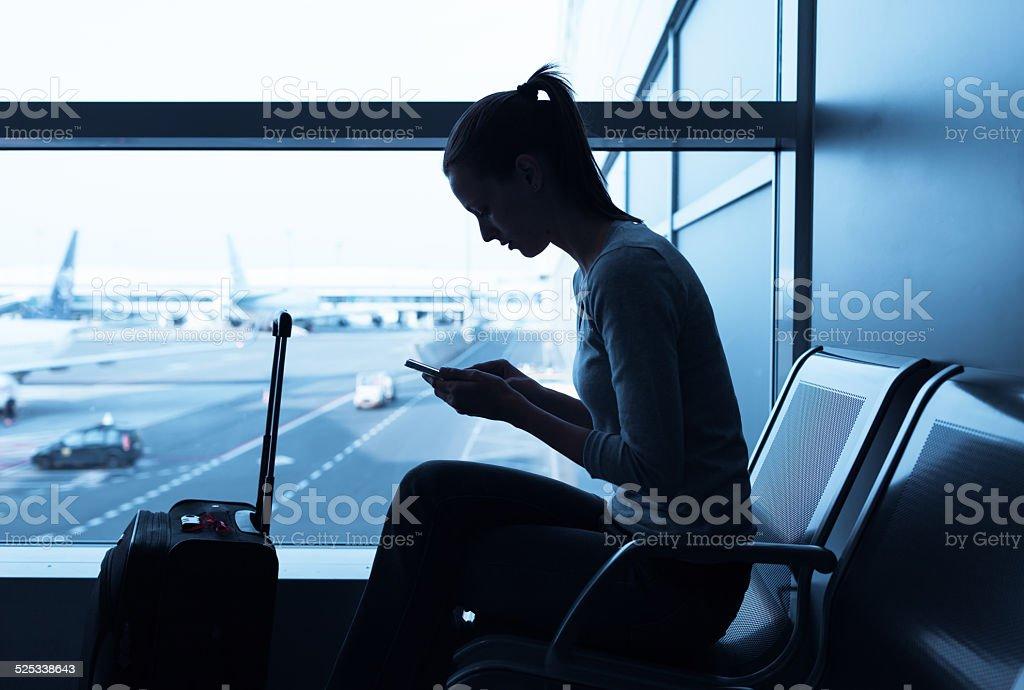 Woman using internet stock photo