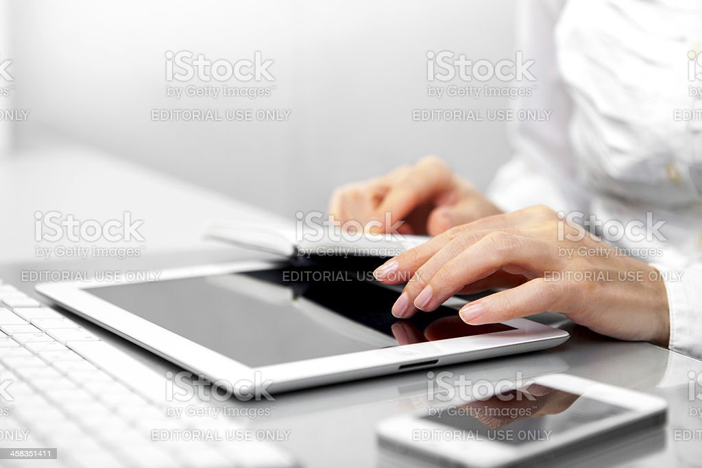 Woman Using iPad royalty-free stock photo
