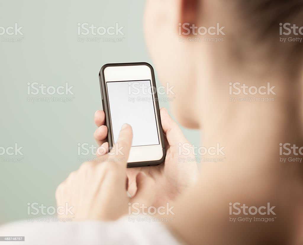 Woman using mobile smart phone stock photo