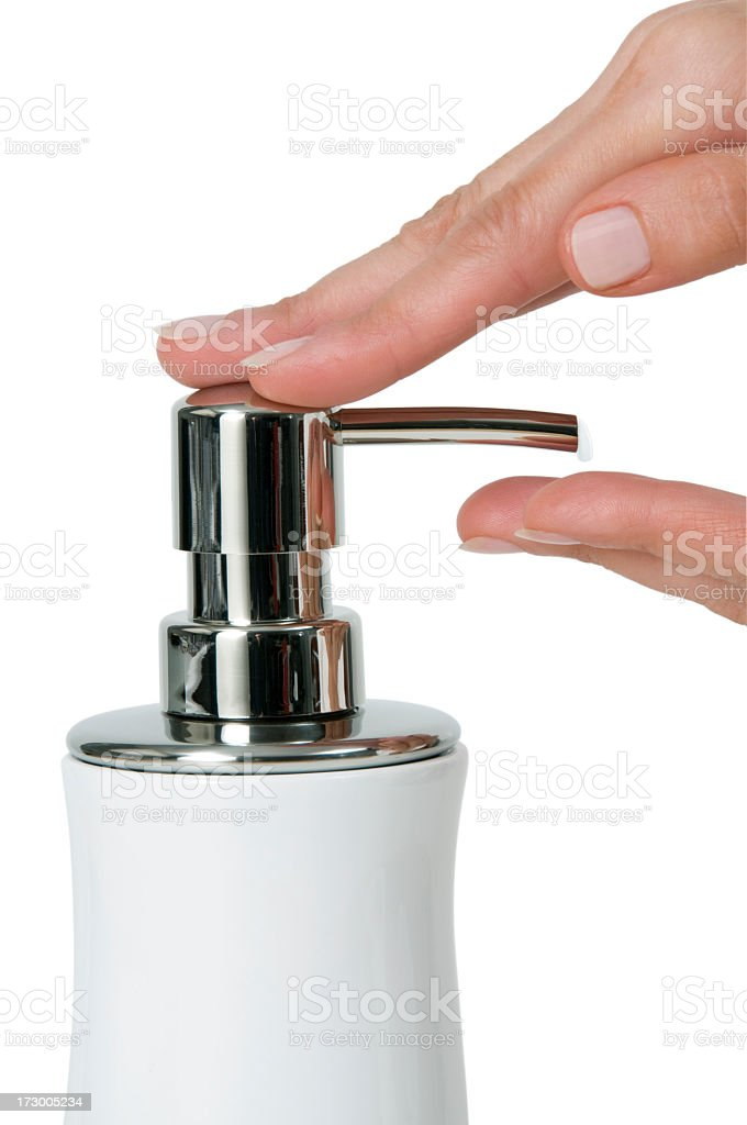 Woman using moisturizing lotion stock photo