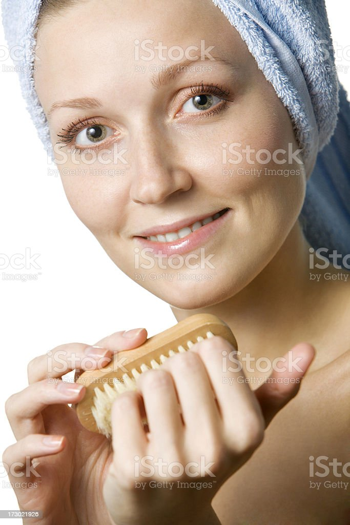 Woman Using Nail Brush royalty-free stock photo