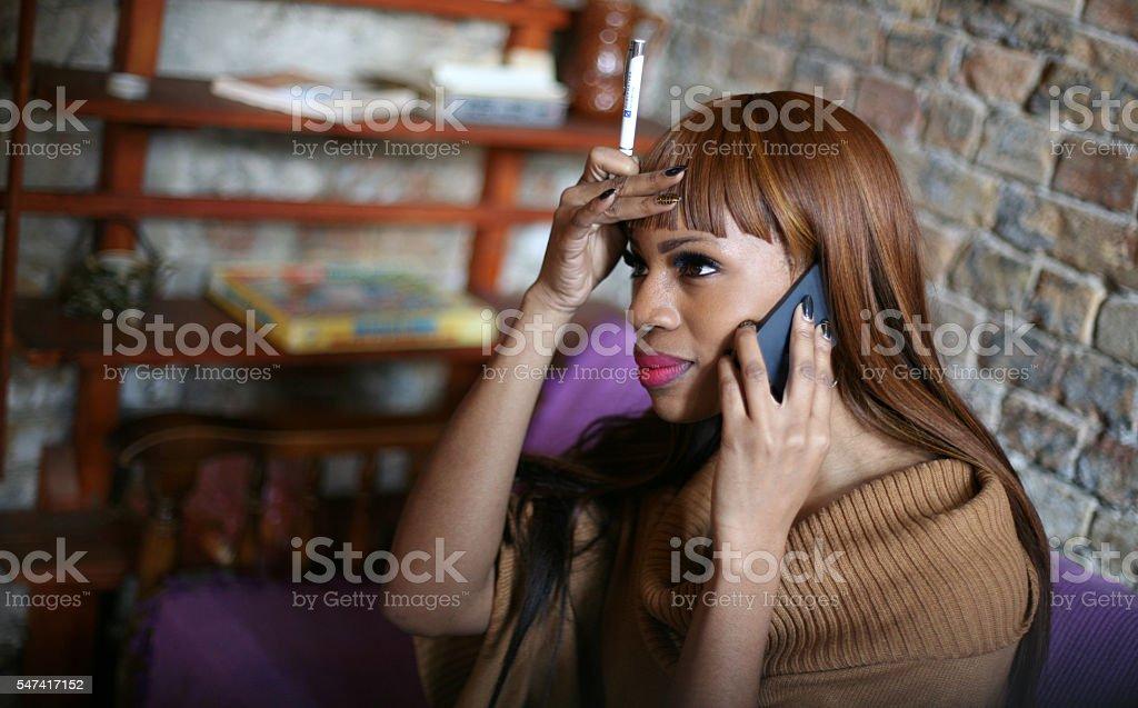 Woman using smartphone. stock photo