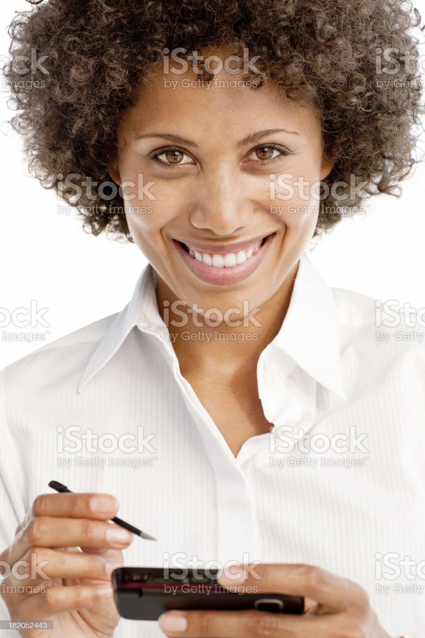 Woman Using Stylus on a PDA royalty-free stock photo