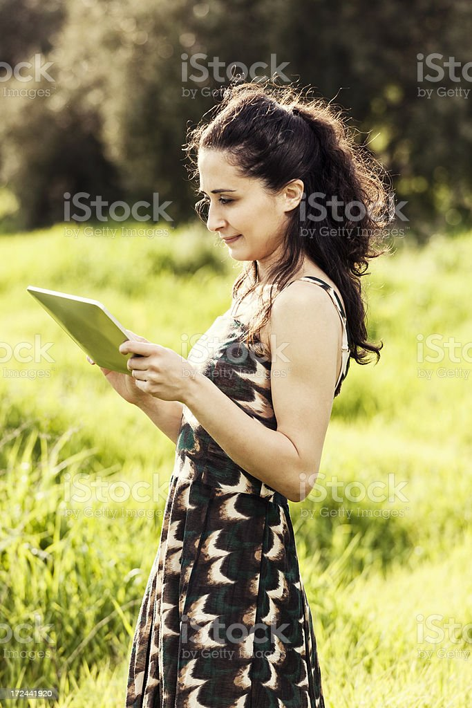 woman using tablet royalty-free stock photo