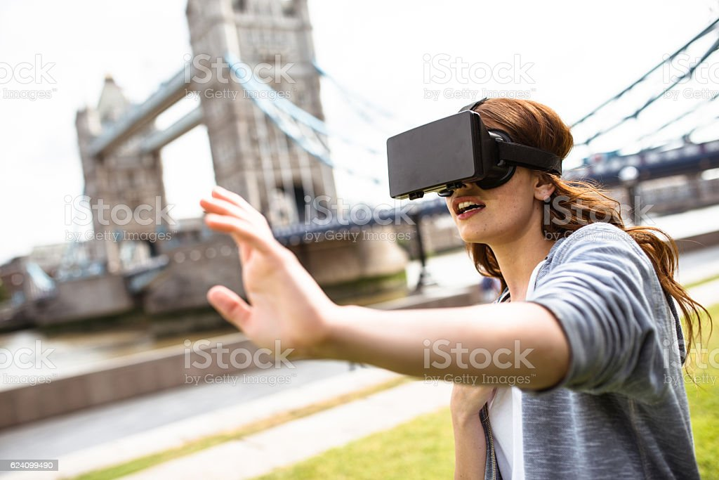 woman using the VR simulator in London stock photo