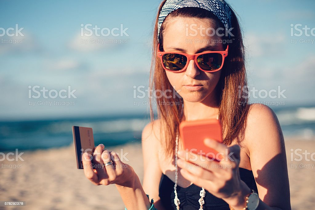 Woman victim of credit card fraud stock photo