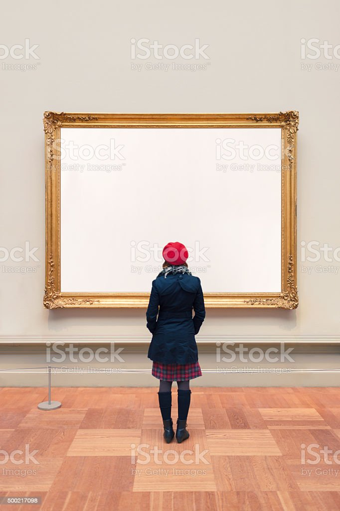 Woman visiting an Unidentifiable Gallery stock photo