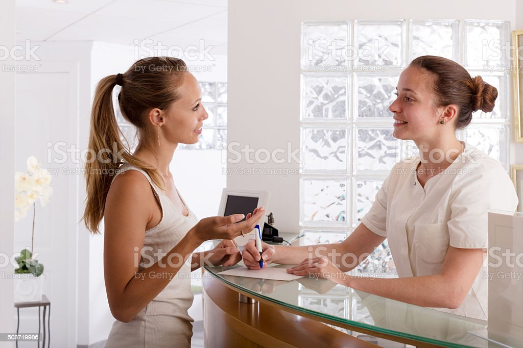 woman visiting clinic stock photo