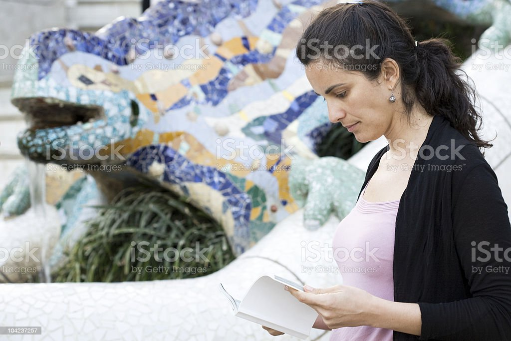 Woman visiting in Park G?ell royalty-free stock photo