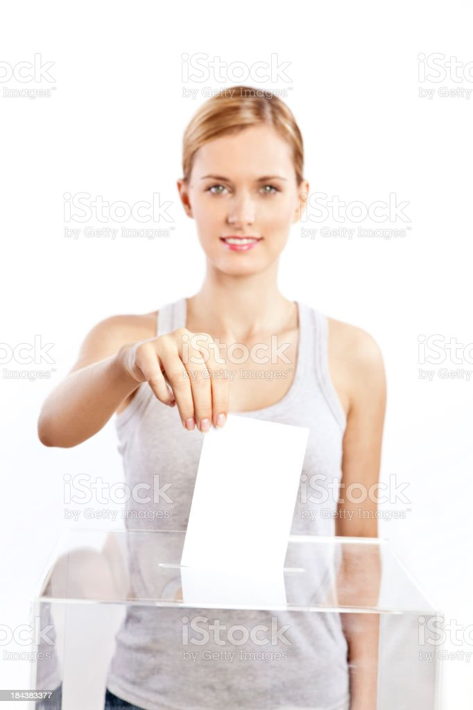 Woman voting royalty-free stock photo