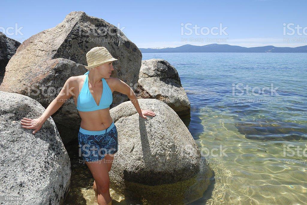 Woman Wading in Lake Tahoe royalty-free stock photo