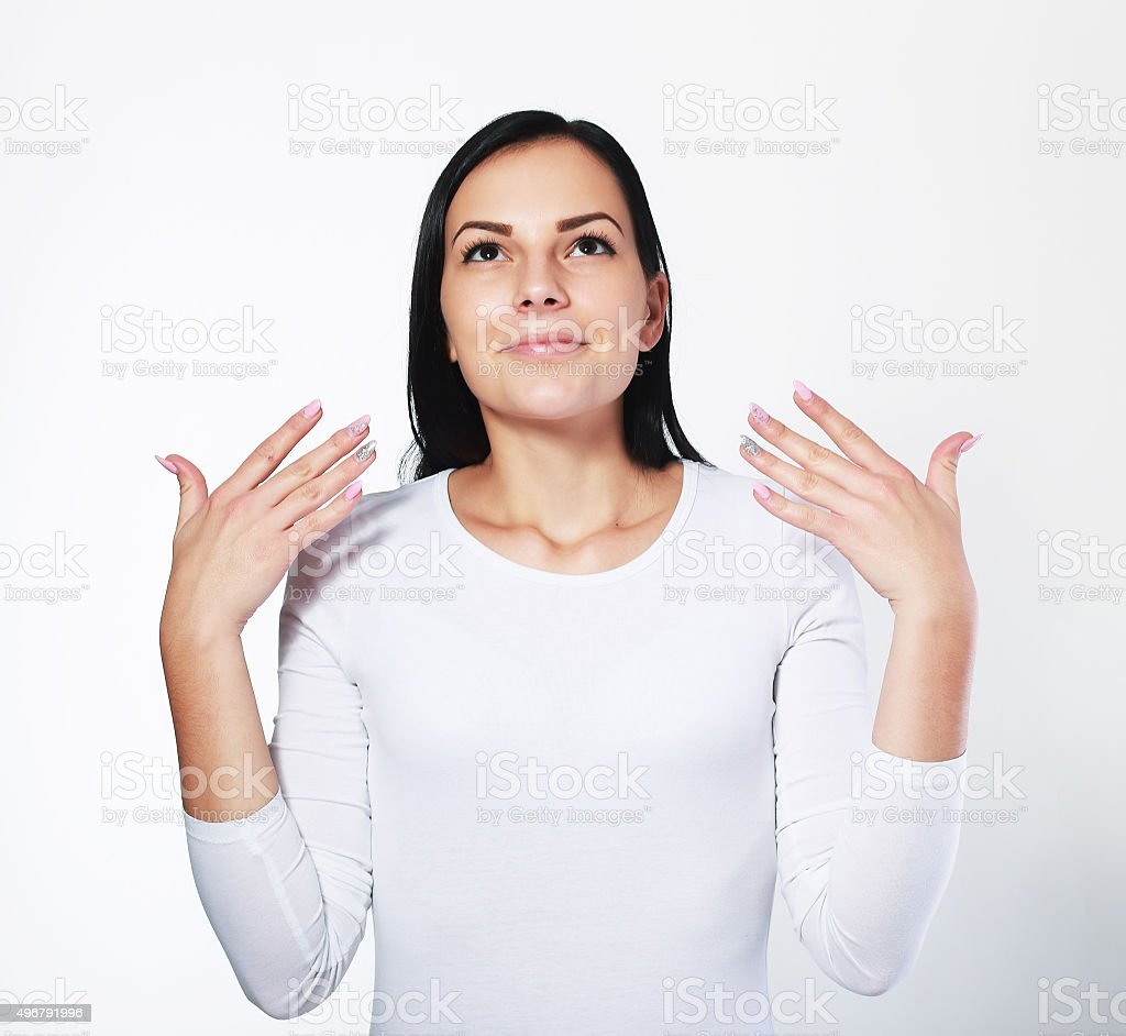 woman wafting air to nostril stock photo