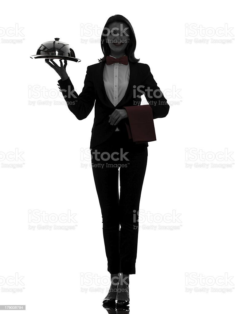 woman waiter butler serving dinner silhouette royalty-free stock photo