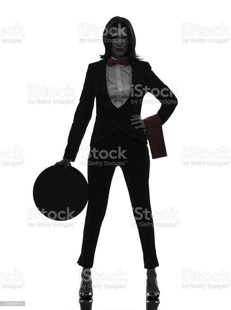 woman waiter butler  silhouette royalty-free stock photo