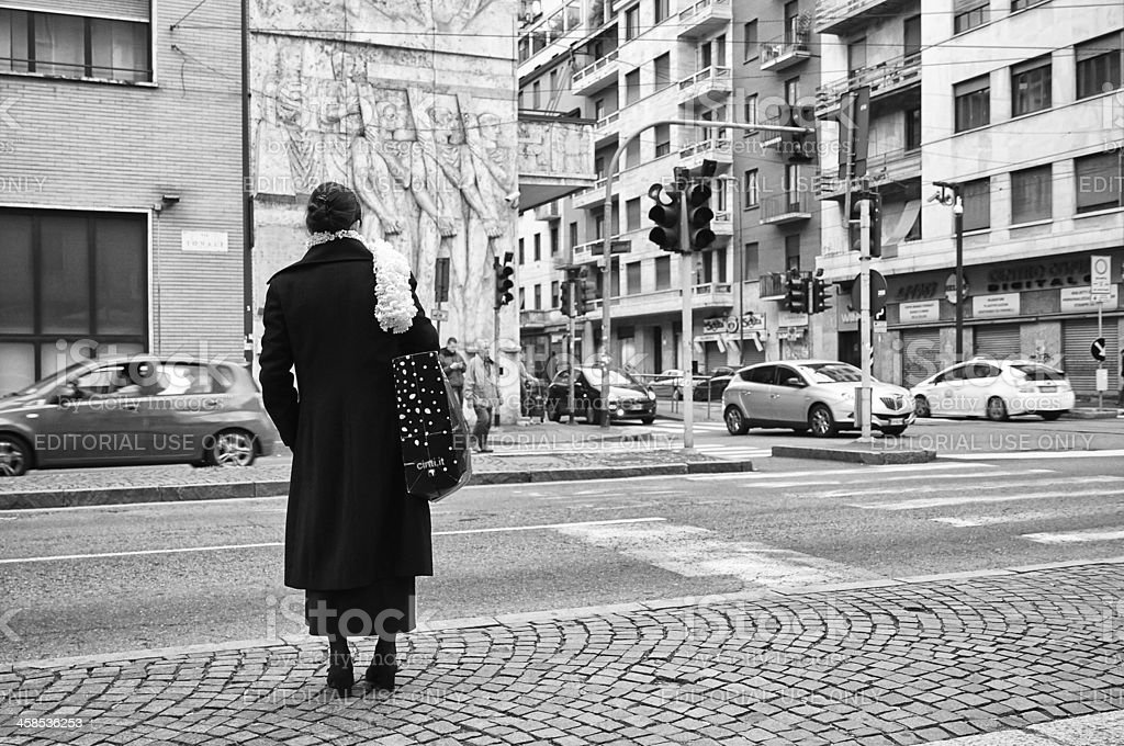 Woman Waiting. Black and White royalty-free stock photo