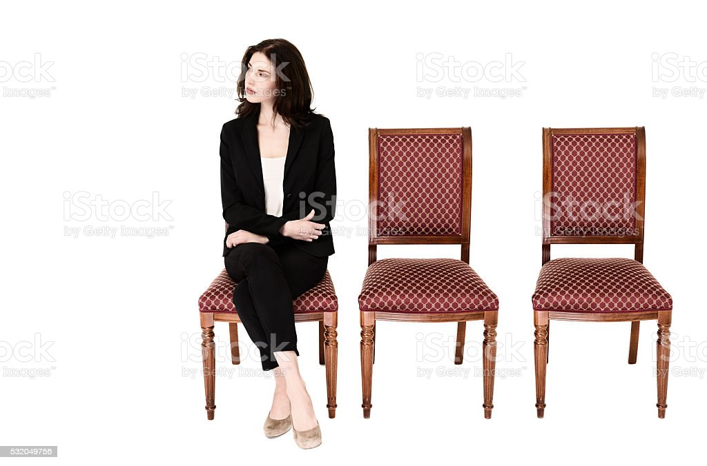 Woman waiting for her turn stock photo
