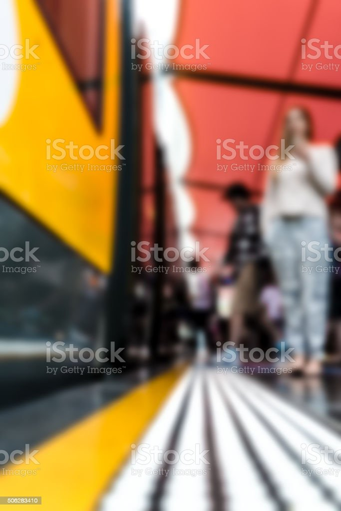 Woman waiting for someone on tram stop stock photo