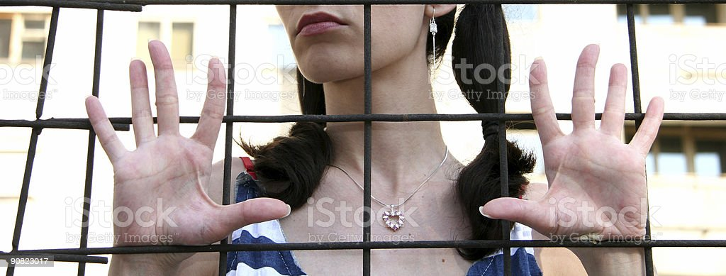 Woman Waiting For The Freedome stock photo