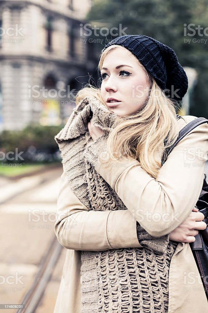Woman waiting for the Tram royalty-free stock photo