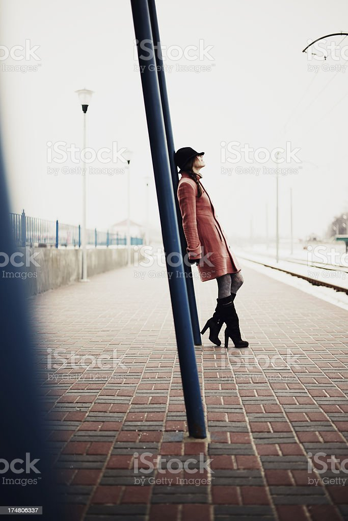 Woman waiting train. royalty-free stock photo
