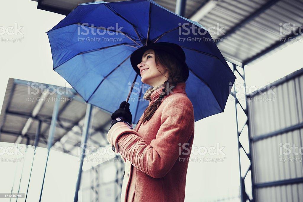 Woman waiting train. royalty-free stock photo