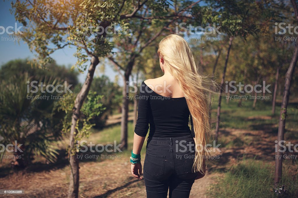 Woman Walking At Forest stock photo