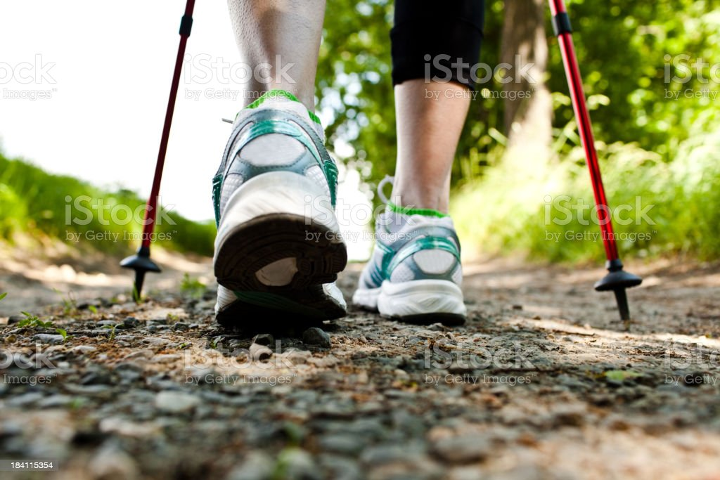 Woman walking cross country and trail in spring forest stock photo