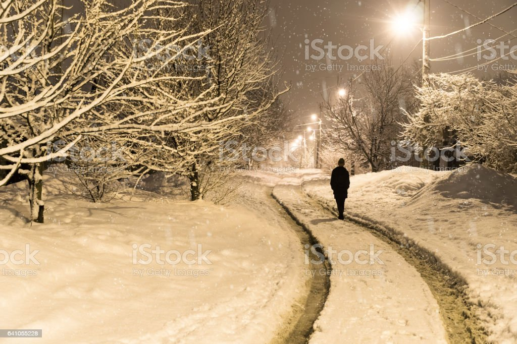 Woman walking distance in the winter stock photo