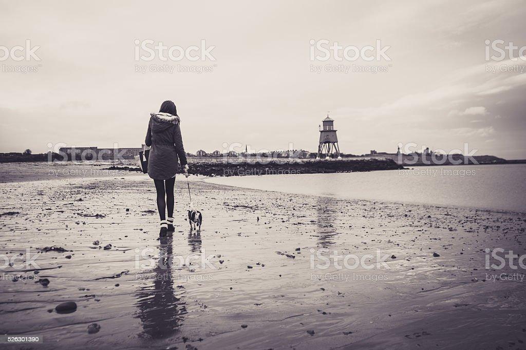 Woman walking her dog along the beach stock photo