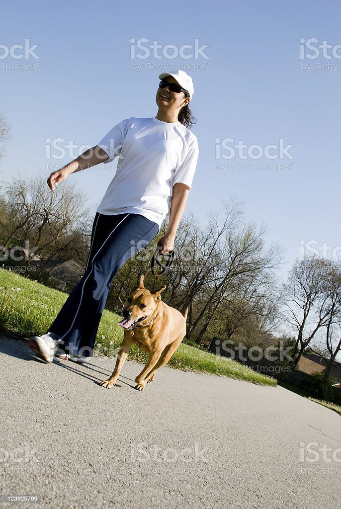 Woman Walking her dog in a park royalty-free stock photo