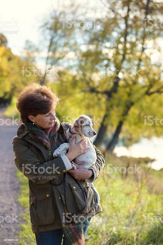 Woman walking her English Setter puppy, Oslo Norway stock photo