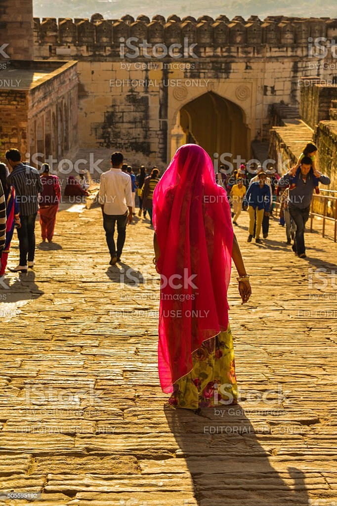 Woman Walking in Courtyard of the Mehrangarh Fort. stock photo