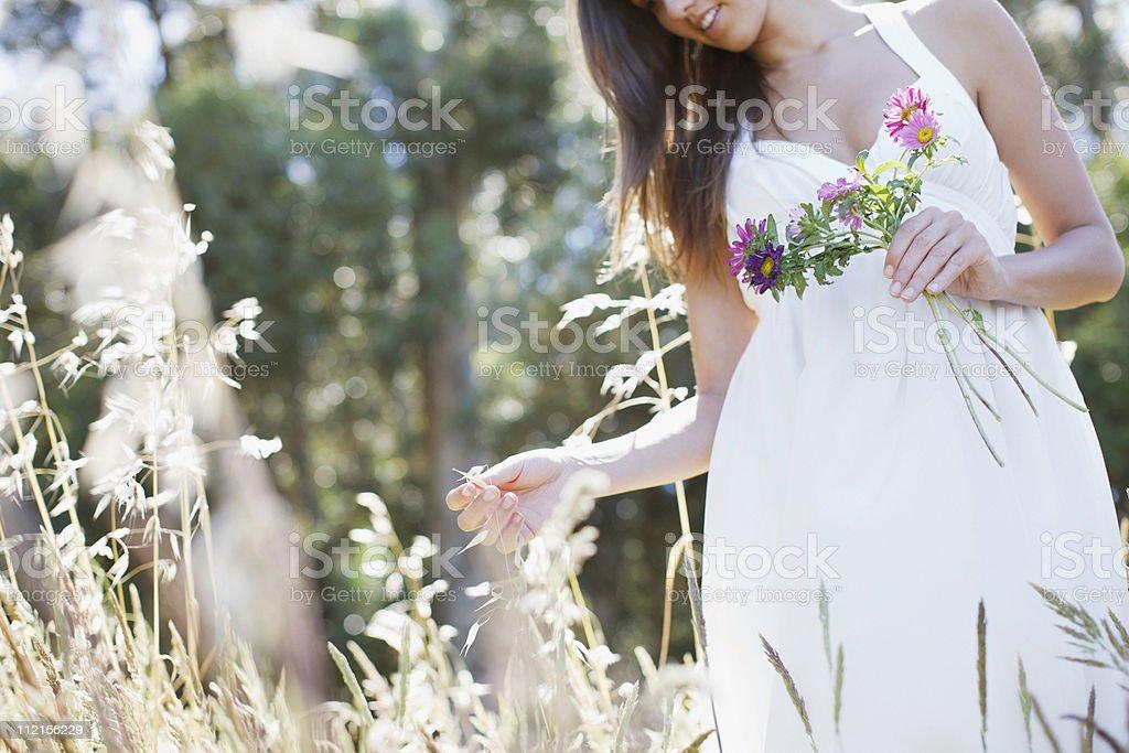 Woman walking in field gathering flowers royalty-free stock photo