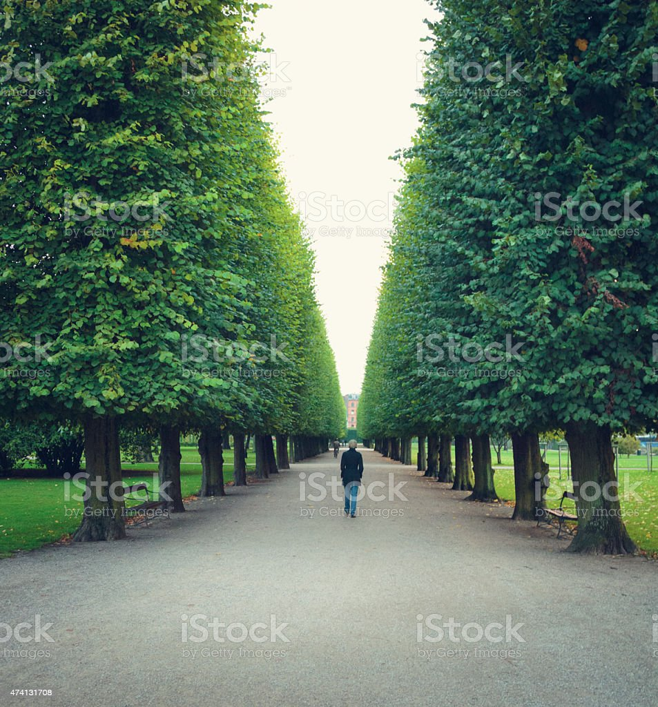 Woman walking in park in Copenhagen stock photo