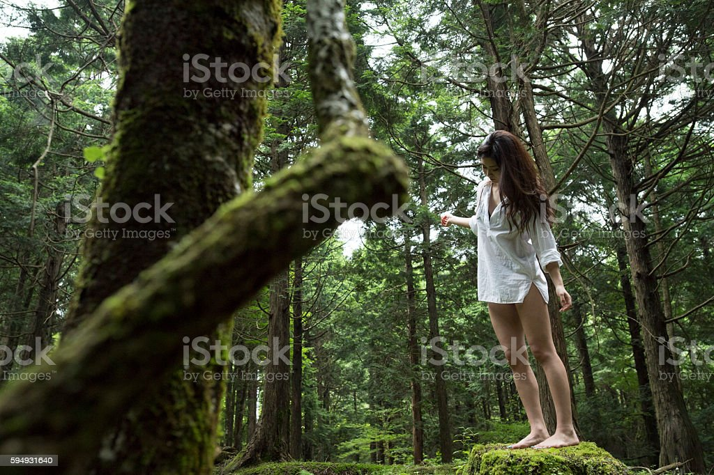 Woman walking in the forest. stock photo