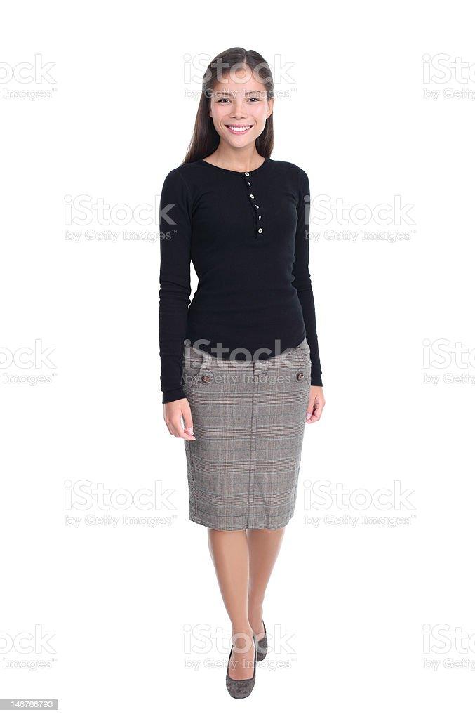 Woman walking isolated stock photo