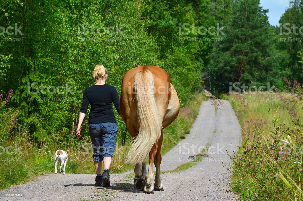 Woman walking on country road stock photo