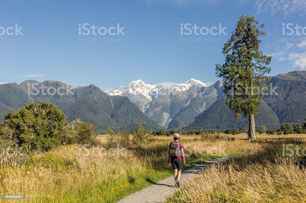 Woman walking on footpath around Lake Matheson, Westland National Park stock photo