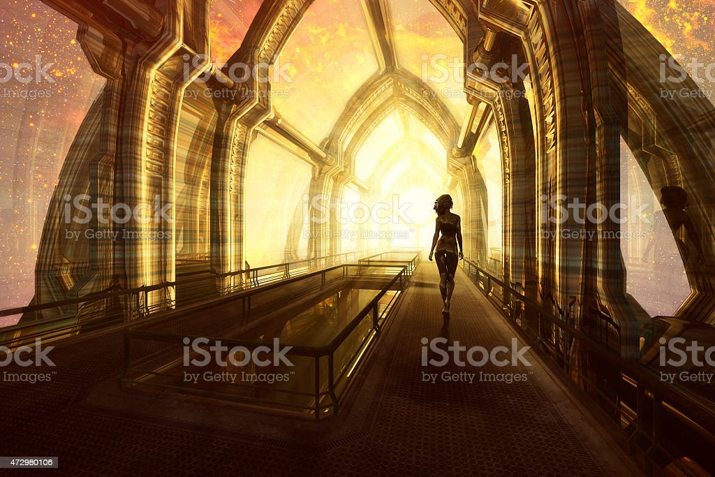 Woman walking on the space bridge, Universe, Energy stock photo