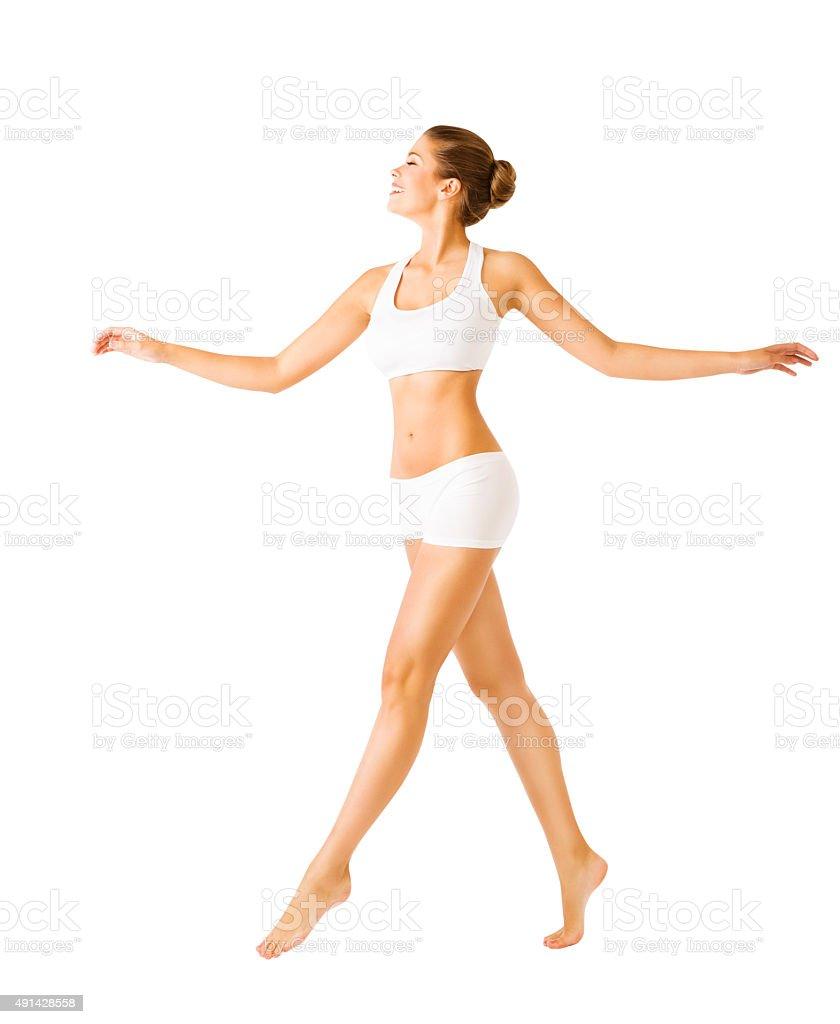Woman Walking Side View, Sexy Girl White Underwear, People stock photo