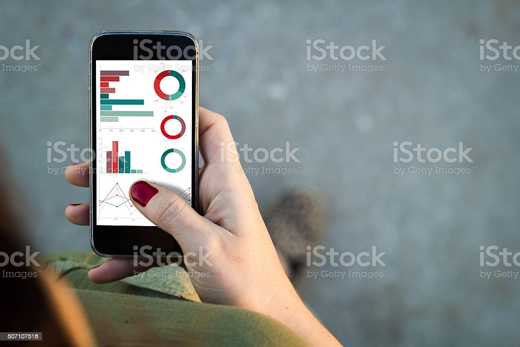 Woman walking smartphone finances stock photo