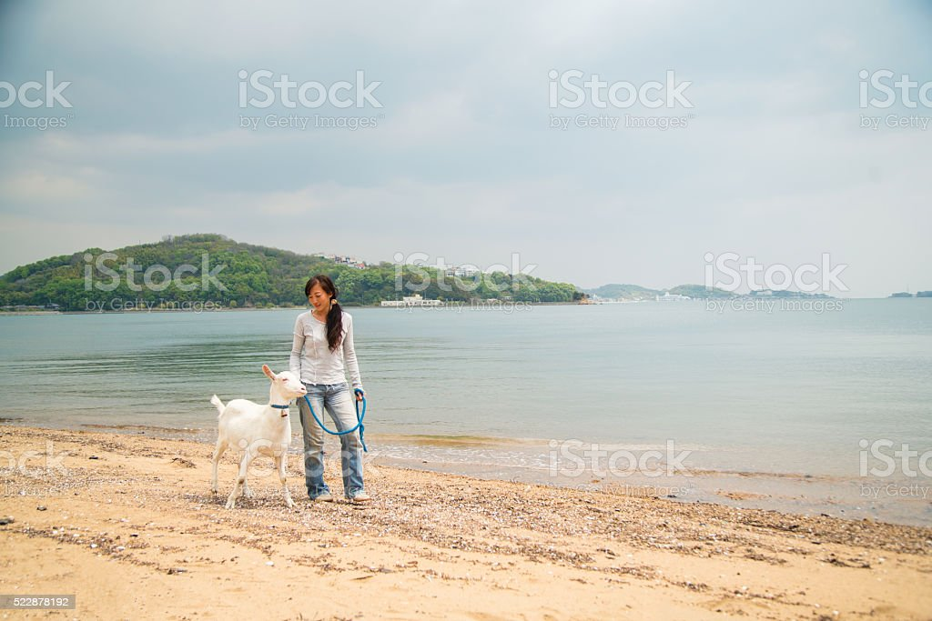 Woman walking with her pet goat on a beach stock photo